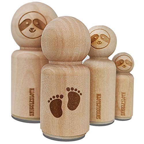 Baby Footprints Rubber Stamp for Stamping Crafting Planners - 3/4 Inch Small
