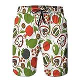 Xunulyn Shorts de Playa de Secado rápido para Hombres, Papel Pintado Colorido de Frutas