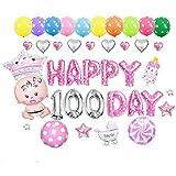 Goer Cute Pink Globos de las letras del alfabeto Conjunto Happy 100 Day Party Decoración Suministros, incluyen 37 Globos