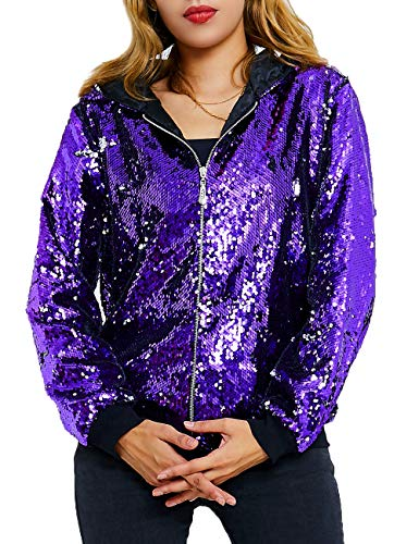 Women Jackets Sequin Sparkle Outwear Flip Coat Women Party Hoodie Jacket Ladies Casual Long Sleeve Jacket Adults Spring Fall Winter Christmas Halloween Clothes Lavender Purple Silver Size XL
