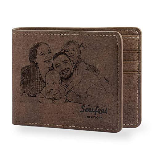 SOUFEEL Personalisiert Foto Geldbörse mit Gravur Geldbeutel Portemonnaie aus Leder 11.5x9.5x0.5 (B x H x T) Ultra leicht ideal Geschenkidee - Klassisches Braun