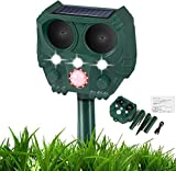 Cat Repellent, Solar Waterproof Ultrasonic Animal Deterrent, Silent Roar Repellant, Motion Sensor Farm for Garden and Flashing Lights, Foxes, Birds, Skunks, Squirrel
