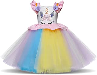 Flower Girl Unicorn Party Dress Ruffles Tulle Birthday Party Wedding Princess Costume Dress