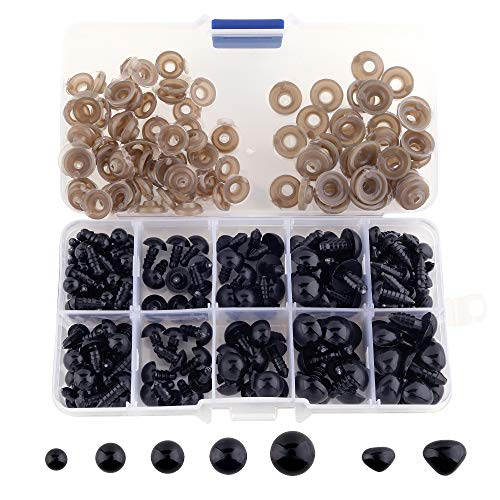 SONKERG 320Pcs Safety Eyes and Noses with Washers, Craft Black Doll Eyes for Amigurumi, Crochet Toy and Stuffed Animals (7 Sizes)