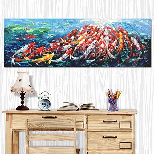 ganlanshu Rahmenlose Malerei Wandbehang Kunst abstrakte Feng Shui Koi Fisch Lotus chinesische Landschaftsmalerei Poster WohnzimmerCGQ7228 52X157cm