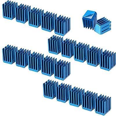 3D Printer Heatsink Kit + Thermal Conductive Adhesive Tape, Cooler Heat Sink Cooling TMC2130 TMC2100 A4988 DRV8825 TMC2208 Stepper Motor Driver Module (22pcs)