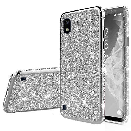 Nadoli Glitzer Hülle für Galaxy M10,Luxus Ultradünne Funkeln Skin Weich Diamant Überzug Rahmen Glänzend Silikon Strass Etui Handyhülle Schutzhülle für Samsung Galaxy M10