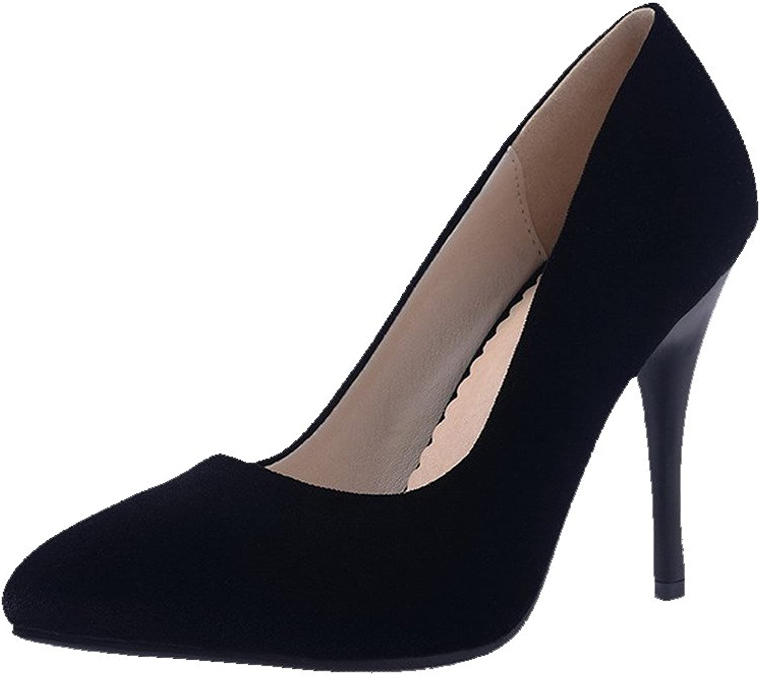 AmoonyFashion Women's Frosted Pointed Closed Toe Spikes Stilettos Pull On Solid Pumps-shoes