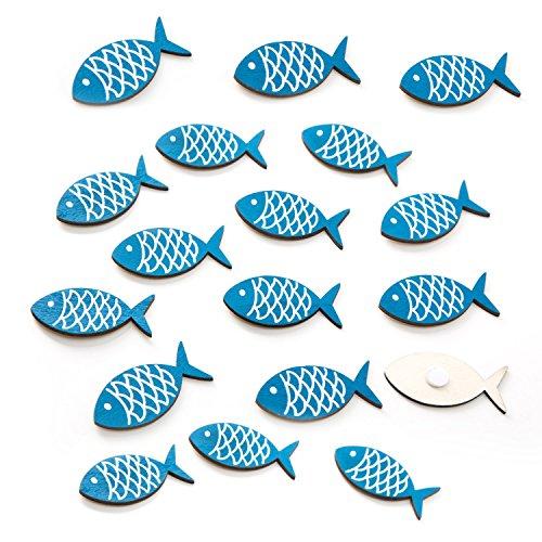 Lot de 18 petits poissons décoratifs en bois avec pastilles adhésives, dimensions : 5 x 2,7 cm comme décoration de table maritime pour saupoudrer, coller et bricoler.