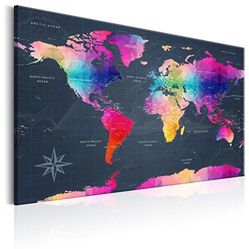 murando englische Weltkarte Pinnwand & Vlies Leinwand Bild 120x80 cm XXL Bilder mit Kork Rückwand Set mit 50 Markierfähnchen-Pinnnadeln Korktafel Kunstdruck Wandbilder Lernkarte Landkarte k-A-0126-p-a
