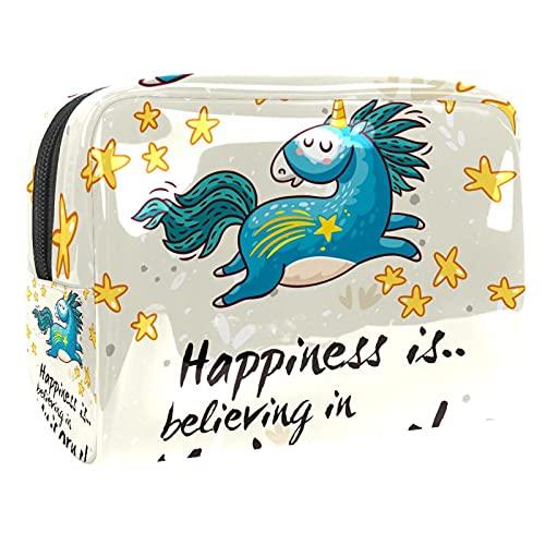Borsa cosmetica da viaggio con motivo a stelle e unicorno, 7,3 x 7 x 15,1 cm, borsa per pennelli da toilette.