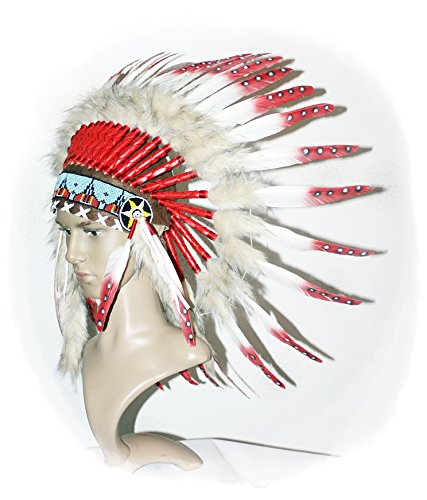 Hejoka-Shop Indianer Kopfschmuck EINZELSTÜCK Federhaube echte Federn Weiss- ROT Federschmuck Fotoshooting