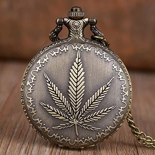 nobrand Taschenuhr, 2020Neue Retro Taschenuhren Männer Frauen Vintage Maple Leaf Taschenuhren Anhänger Halskette Kette Fob Uhren