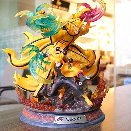 Anime Uzumaki Naruto Estatua de zorro de nueve colas Juguete Interior Coche Decoración de moda Regalo para jóvenes Altura 39 cm (15,35 pulgadas)