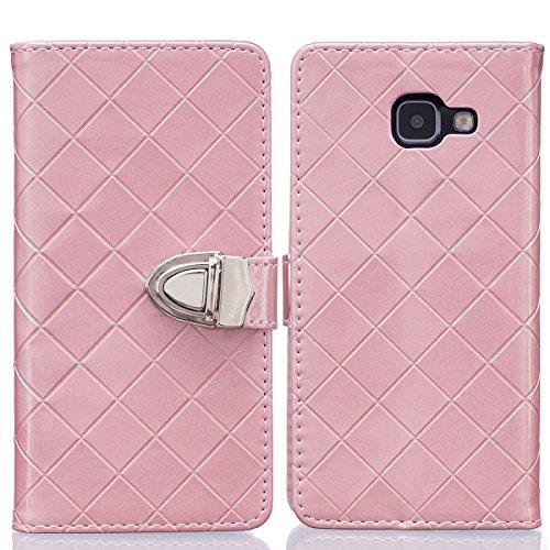 A5 (2016) Custodia,COOLKE PU Pelle Flip Case Cover Moda Metallo Chiusura Magnetica Leather Wallet Stand Protettiva Cassa Custodia per Samsung Galaxy A5 (2016) 5.2' - Rosa
