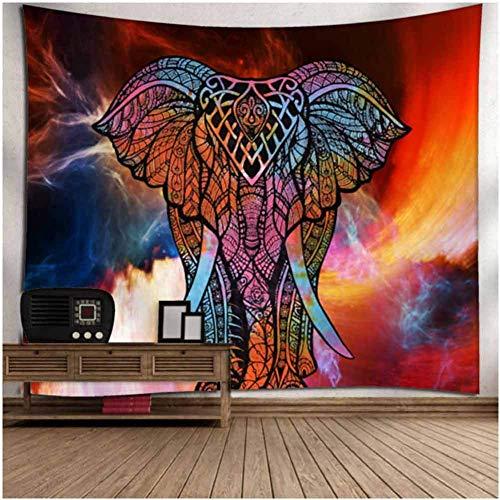 CHIYEEE Tapisserie Indisch Psychedelic Wandteppich Mandala Silber Grau Indischer Bohemian Wandbehang Elefant Boho Baumwolle Hippie Wandtuch Meditation Yoga Mats 150 X 230cms