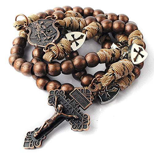 HanlinCC Large and Heavy Antique Copper Metal Beads Rugged Durable Paracord Rosary Necklace with St.Michael Center Piece and Pardon Crucifix for Men (Antique Copper St.Michael Paracord Rosary)