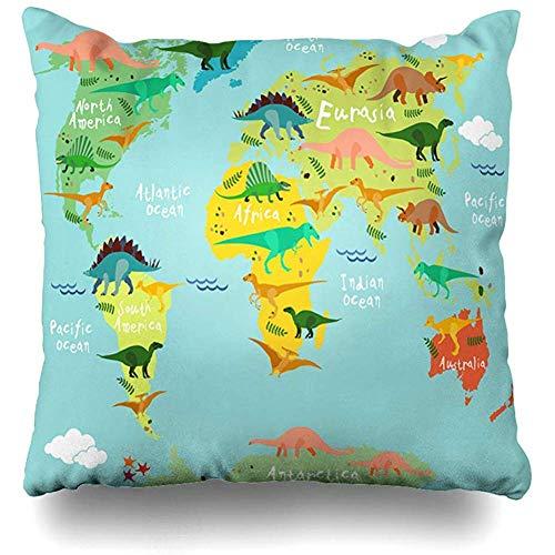 Babydo Funda De Almohada Bosques Esqueleto Dinosaurios Mapa Mundo Niños Niños Abstracto Lindo Australia Océano Prehistórico África Throw Pillow Cover Cuadrado Duradero Impreso Suave Fund