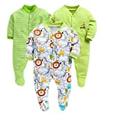 Baby Needs New Born Baby Multi-Color Long Sleeve Cotton Sleep Suit Romper for Boys and Girls Set of 3 (3-6 Months, Green)