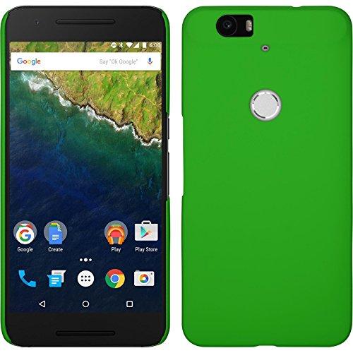 PhoneNatic Case kompatibel mit Google Nexus 6P - Hülle grün gummiert Hard-case + 2 Schutzfolien