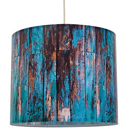Anna Wand Lampenschirm/Hängelampe Wood TÜRKIS – Schirm für Lampen mit Motiv in Holz-Optik – Sanftes Licht auch für Tischleuchte oder Stehlampe – ø 40 x 34 cm