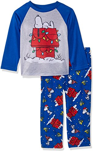 Peanuts Kids' Toddler Snoopy Holiday Family Sleepwear Collection, Winter Light, 2T