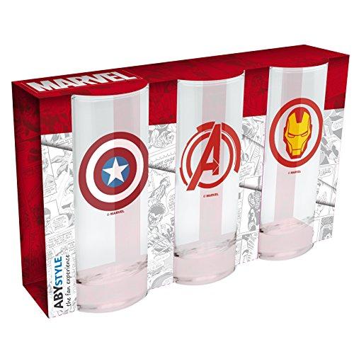 MARVEL - 3er set Gläser Captain America, Avenger, Iron Man 29cl
