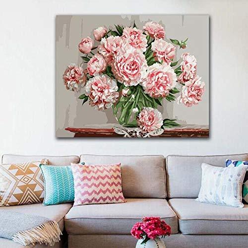 Jayblabo'S Imagen Digital De Bricolaje Hecha Por Pintura De Imagen De Arreglo De Flores De Color Rosa Y Digital Por Hogar Digital-40X50(Sin Marco)