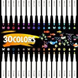 Lehoo Castle Rotuladores metálicos, rotuladores Vakki, juego de 30 colores surtidos para dibujo de álbum de fotos/regalo de cumpleaños por bricolaje Tarjeta