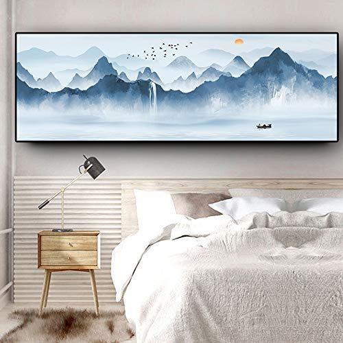 KWzEQ Resumen Lago de montaña Barco Panorama Paisaje escandinavo Cartel Lienzo Pintura Mural Sala de Estar,Pintura sin Marco,45x120cm