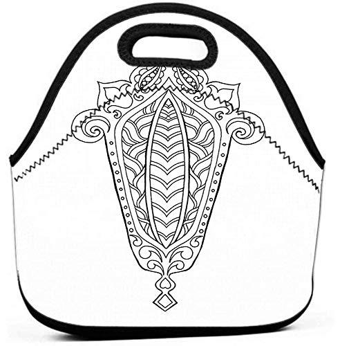 Wiederverwendbare Aufbewahrungsbeutel, Lunchpaket mit passendem Dichtungsclip, auslaufsicheres handgezeichnetes traditionelles Laternen-Ramadan-Gravurskizzen-Malvorlagen-Dekorations-Grußkartenplakat