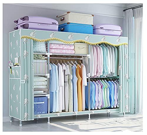 LJWLZFVT Kleiderschrank Faltbarer Schrank Stoffschrank Kleiderschrank mit Kleiderstange, Fächern und Seitentaschen-CampingTextil Garderobe Bedroom Wardrobes(Size:201X45X170CM,Color:B.)