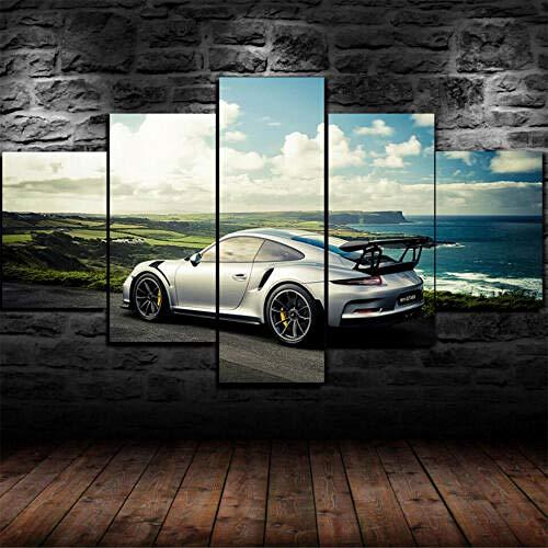 Yywife Moderne Wandbilder XXL Wohnzimmer Wohnkultur 5 teilige leinwandbilder XXL Kreatives Geschenk wanddeko Gerahmte Porsche 911 GT3 RS Super Car Malerei