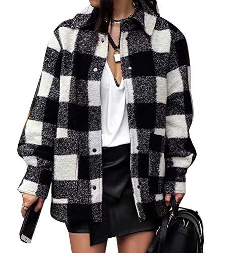 ORANDESIGNE Schwarz weiß Karierten Knöpfen Taschen Umlegekragen Langarm Mode Damen Bluse Mantel Hemdjacke Flanellhemd Karierte Jacke C Schwarz XS