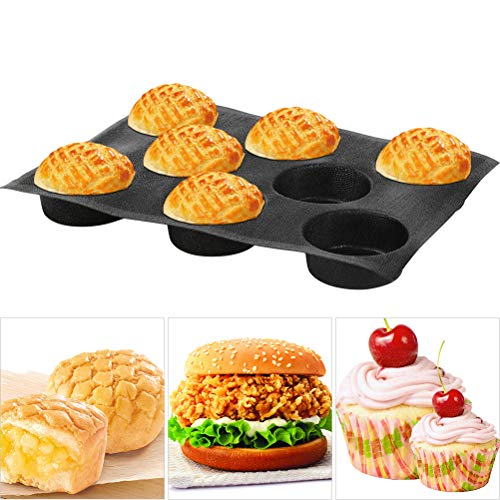 Baker Boutique 8541890740, Black Silicone Bun Hamburger Non-stick Perforated Bakery Mold, Round Mould, Baking Liners Mat Bread Form Pan (8 Loaves, 17.1'x12.2'x1.6' 4.1'x 1.6'