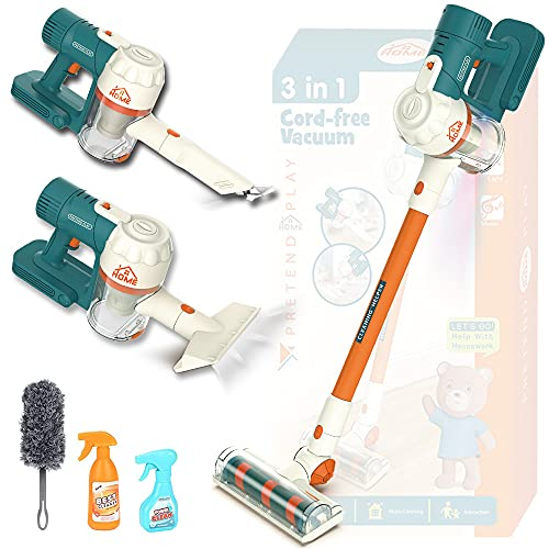 LANBABA Kids Vacuum That Really Works Upgraded with Real Sound and Well Suction, Perfect Size for Little Helper, Great Gift as Kids Cleaning Set for Toddlers Dress Up & Pretend Play Toy Cleaner
