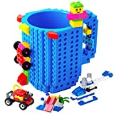 BOMENNE Build-on Brick Mug,Novelty Creative DIY building Blocks Puzzle Cups with 3 packs of Blocks,Unique Kids Party Fun mug For ALL Festival and Christmas gifts,Compatible with Lego,Blue