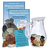 EDELSTEIN WASSER LEBER & GALLE VITAL 5-tlg SET. 300g WASSERSTEINE zur Wasseraufbereitung für Trinkwasser + 1,0 L Glaskrug Karaffe + Anleitung + Zubehör. 90042-2