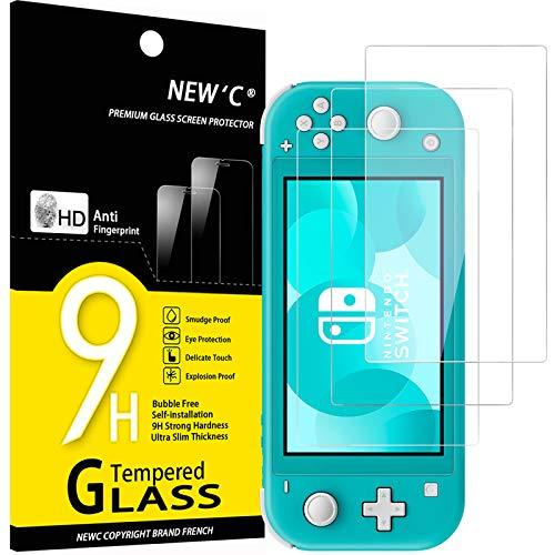 NEW'C 3 Pezzi, Vetro Temperato per Nintendo Switch lite, Pellicola Prottetiva Anti Graffio, Anti-Impronte, Senza Bolle, Durezza 9H, 0,33mm Ultra Trasparente, Ultra Resistente