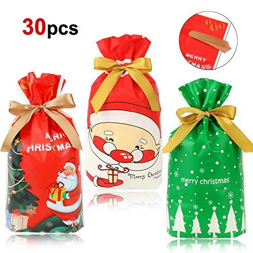 HOWAF Navidad Regalo Bolsas con Cordón para Caramelos Dulces Bueno, 30pcs Árbol de Navidad Papa Noel Bolsas...