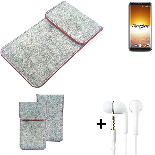K-S-Trade Handy Schutz Hülle Für Energizer P600S Schutzhülle Handyhülle Filztasche Pouch Tasche Hülle Sleeve Filzhülle Hellgrau Roter Rand + Kopfhörer