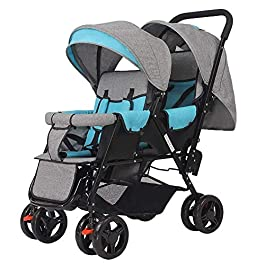 Pliuyb Double Infant Trolley,Twin Baby Stroller Lightweight Folding Double Two-Seater Baby Carriage,Five-Point Harness,Removable Cleaning