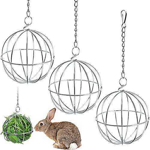 CAPRICIOUS 3 Stück Edelstahl Feeder Spielzeug, Edelstahl Feeder Ball Heuball Kaninchen Spielzeugs für Hase Meerschweinchen Kaninchen Chinchillas Hamster