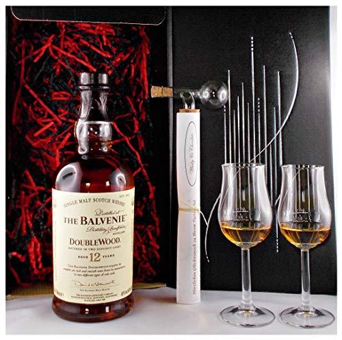 Geschenk Balvenie 12 Jahre Single Malt Whisky + Glaskugelportionierer +2 Bugatti Gläser