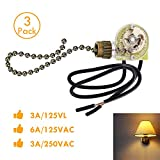VIPMOON Ceiling Fan Switch Pull Chain Switch, 3 PACK Zing Ear ZE-109 ON-OFF Pull Chain Lamp Switch for Ceiling Fan Lights lamp Bronze