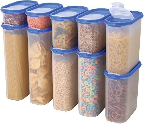 MILTON hochwertige Aufbewahrungsboxen mit großer Öffnung und Deckel für Lebensmittel aus BPA-Freiem ABS Plastik Vorratsdose, luftdicht, durchsichtig in verschiedenen Größen - 10er Set
