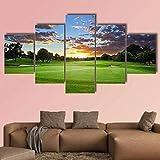 QWASD Puesta De Sol sobre El Campo De Golf Cuadro En Lienzo 150X80Cm Equipo De 5 Piezas Material Tejido No Tejido Impresión Artística Imagen Decor Pared