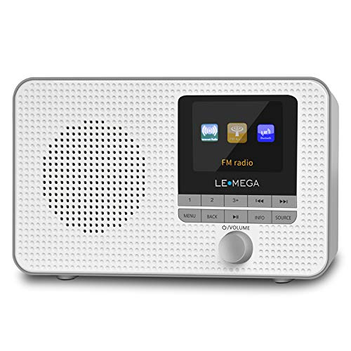 LEMEGA IR1 Internet Radio, FM Digital Radio, Bluetooth, WiFi, Dual Alarms&Clock, Sleep/Snooze Timer, 40 Pre-Sets, Headphone Output, Colour Screen, Mains Powered and AA Batteries - Gray