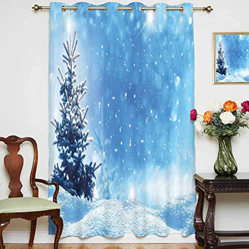 Winter Sliding Door Curtain Artistic Rendition of Snowy Season of Year Frozen Pine Tree Snowflakes Falling Down Decorative Grommets Panels Printed Curtains ,Single Panel 63x63 inch,for Office
