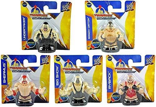 WWE Thumbpers Series 1 Mini Wrestling Figure Set of 5 - Randy Orton, Sheamus, Undertaker, Big Show. Ryback